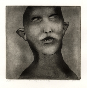 Man kijkt naar vlieg, ets, 1984