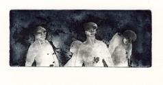 Passanten, ets, ca. 1975